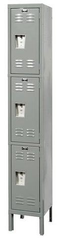 "Rugged Steel Lockers with 3 Openings, 1 -Wide Triple Tier, Assembled, 12"" W x 18"" D x 24"" H"