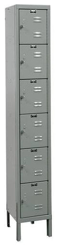 "Rugged Steel Lockers with 6 Openings, 1-Wide Six Tier, Assembled, 12"" W x 15"" D x 12"" H"