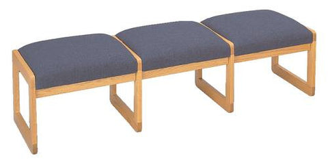 Contemporary Solid Oak Reception Seating, 3-Seat Bench, Standard Fabric