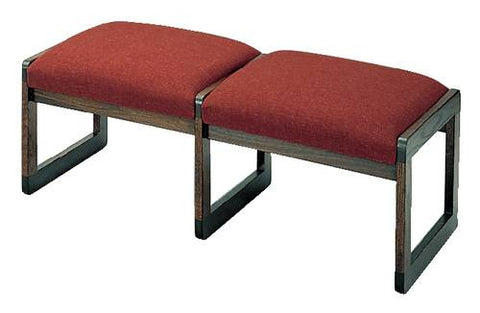 Contemporary Solid Oak Reception Seating, 2-Seat Bench, Standard Fabric