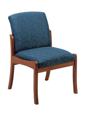 Weston Series Armless Chair, Patterned Fabric Upholstery