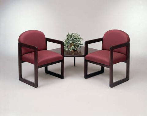 Contemporary Solid Oak Reception Seating, 2 Chairs with One Corner Table, Standard Fabric