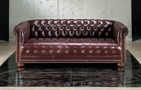 Chesterfield Sofa, Leather Upholstery