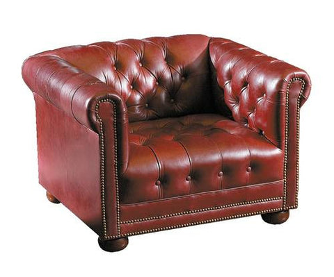 Chesterfield Club Chair, Leather Upholstery