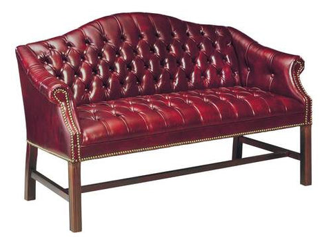 Classic Traditional Camelback Settee with Leather Upholstery