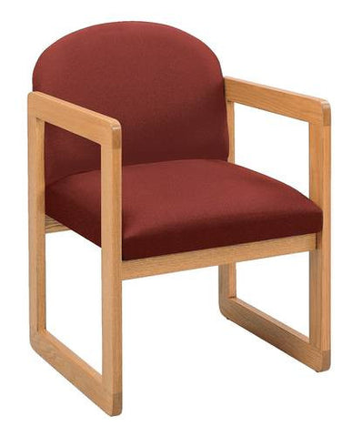 Contemporary Solid Oak Guest Chair, Standard Fabric