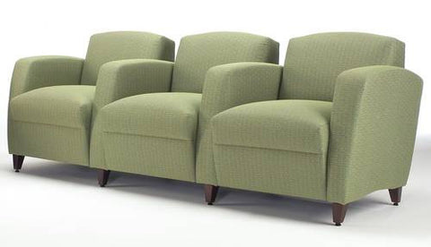 Comfort-Plus Lounge Seating, 3-Seat Lounge with Center Arms, Grade 1 Fabric