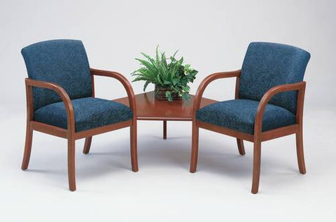 Weston Series 2 Arm Chairs with Corner Table, Patterned Fabric Upholstery