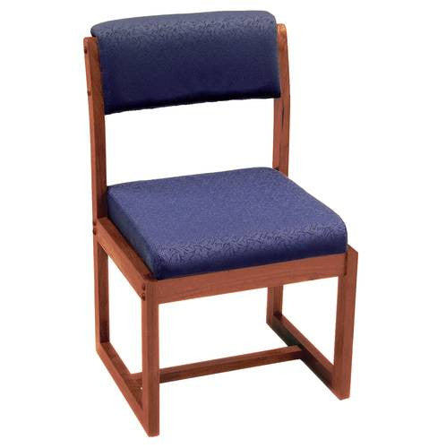 Solid Wood Armless Sled Base Chair, Upholstered Seat And Back