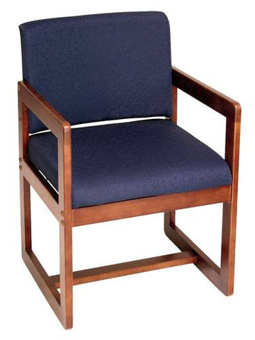 Solid Wood Sled Base Arm Chair, Upholstered Seat and Back