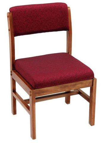 Solid Wood Side Chair, Upholstered Seat and Back
