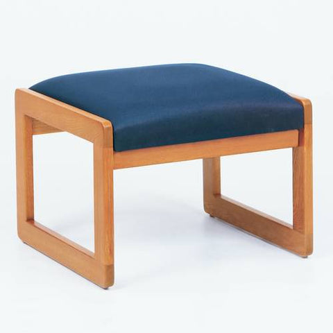 Contemporary Solid Oak Reception Seating, 1-Seat Bench, Standard Fabric