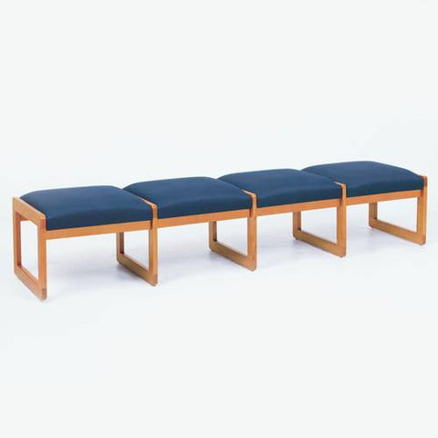 Contemporary Solid Oak Reception Seating, 4-Seat Bench, Standard Fabric