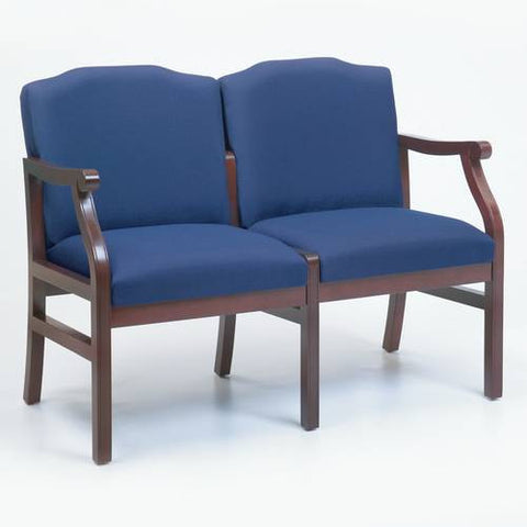Traditional Modular 2-Seat Settee, Heavy-Duty Patterned Fabric Upholstery