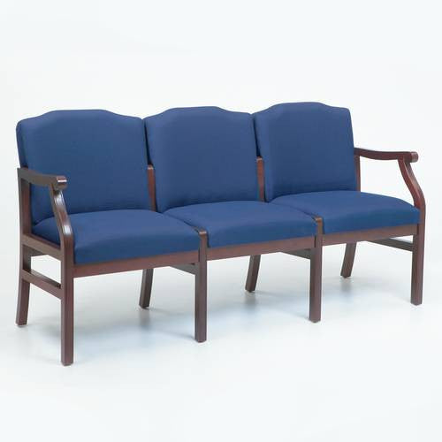 Traditional Modular 3-Seat Sofa, Heavy-Duty Patterned Fabric Upholstery