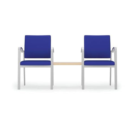 Newport Series 2 Chairs with Center Connecting Table, Healthcare Vinyl Upholstery