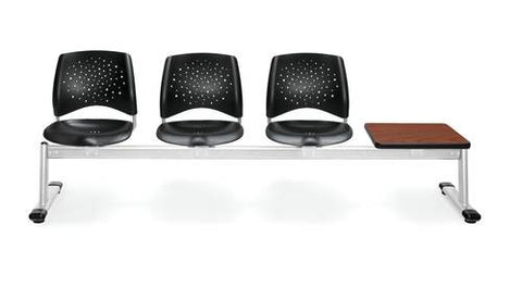 Stars Beam Seating, 3-Seats/1 Table Unit, Plastic Seats