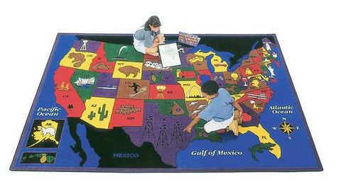"Discover America Geography Carpet, 4'5"" x 5'10"""