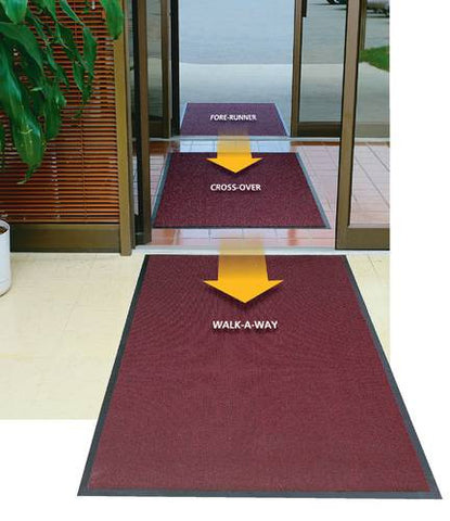 """Total Care"" is a 3-mat all-purpose entrance system that protects floors and carpets. Shown top to bottom: Fore-Runner Model #28146, Cross-Over Model #28158 and Walk-A-Way Model #28170. Each mat provides specific floor protection features that, combined, cover the minimum distance of 15' recommended by building maintenance experts to clean shoes thoroughly. (Each mat sold separately.)"