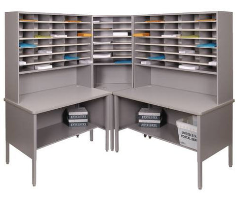 Marvel Mailroom Furniture, 84-Pocket Configuration with Open Sorting Tables