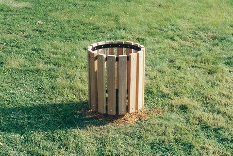 Durable Wood Trash Can Receptacle, 32-Gal, Yellow Pine Finish