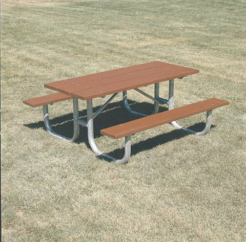 Extra-Heavy-Duty, Durable Wood Picnic Table, 8' L, Redwood Stain Finish