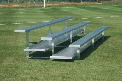 Model shown:26448 (3-Row Low-Rise Bleachers with Double-Width Foot Planks, 15' L, Seats 30).