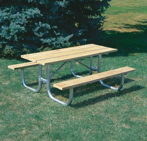 Extra-Heavy-Duty, Durable Wood Picnic Table, 8' L, Yellow Pine Finish