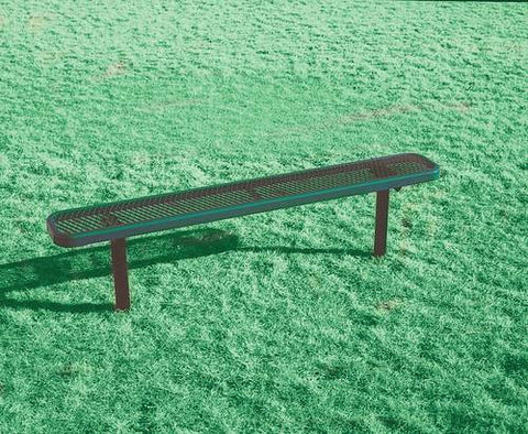 Heavy-Duty Steel Permanent Bench with No Back, 8' L