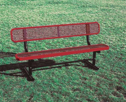 Swell Heavy Duty Steel Permanent Bench With Back 6 L Caraccident5 Cool Chair Designs And Ideas Caraccident5Info