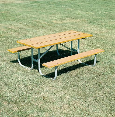 Heavy Duty, Durable Wood Picnic Table, 8u0027 L, Yellow Pine Finish