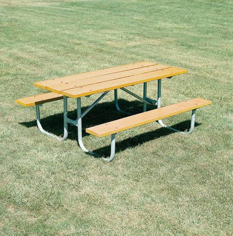 Heavy-Duty, Durable Wood Picnic Table, 8' L, Yellow Pine Finish