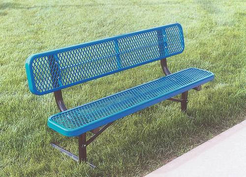 Heavy-Duty Steel Portable Bench with Back, 8' L