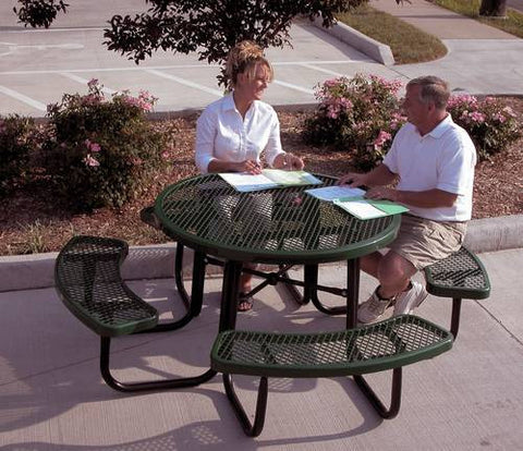 "Heavy-Duty Steel Mesh Picnic Table, 46"" Round Top"