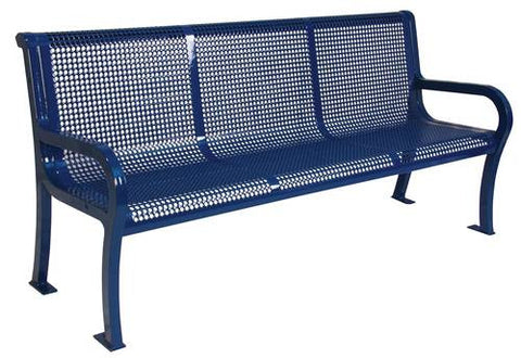 Lexington Collection Bench with Back, Round Punched Perforations, 4' Long