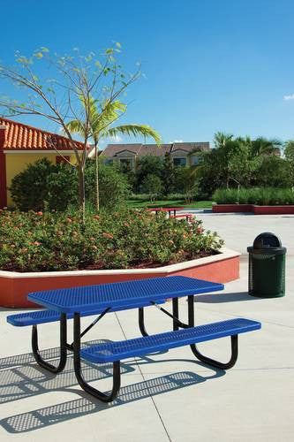HeavyDuty Steel Mesh Picnic Table Long Diamond Pattern Steel - 96 picnic table