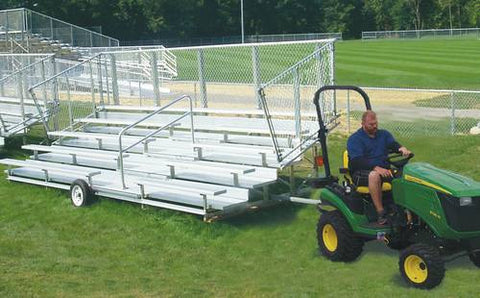 Shown is Model 463412 5-row 24' L bleacher with aisle and Model 463413 Transport Kit. Model 463408 is 15' L bleacher without aisle.