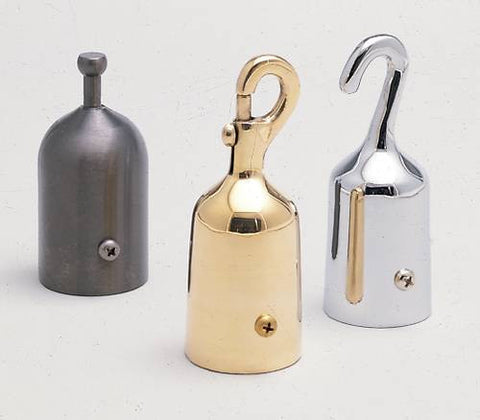 Models shown (left to right):Tab Rope End (not available);60791 (Snap-On Rope End, Polished Brass finish);60794 (Hook-On Rope End, Polished Chrome finish).