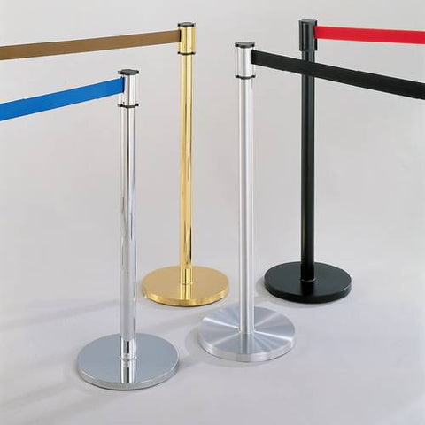 Models shown (left to right): 60850 (Mirror Chrome Post); 60852 (Mirror Brass Post); 60842 (Satin Aluminum Post) and 60844 (Satin Black Post).