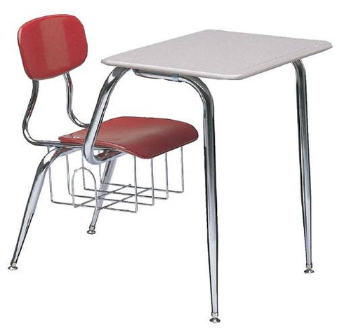 "Hard Plastic Classroom Chair Desk, 3/8""-Thick Seat & Back, 15-1/2"" Seat Height"
