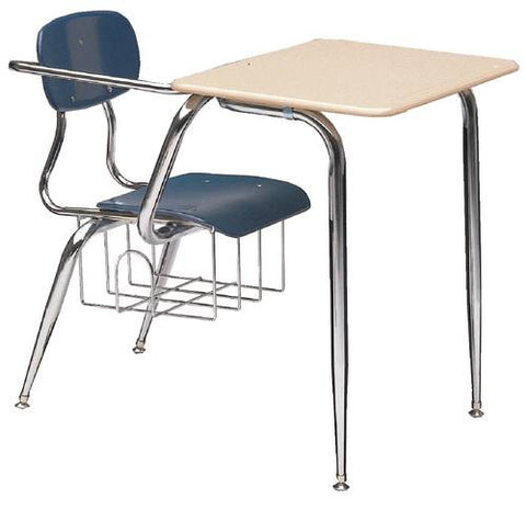 "Hard Plastic Classroom Chair Desk with Extra Arm Support, 5/8""-Thick Seat & Back, 15-1/2"" Height"