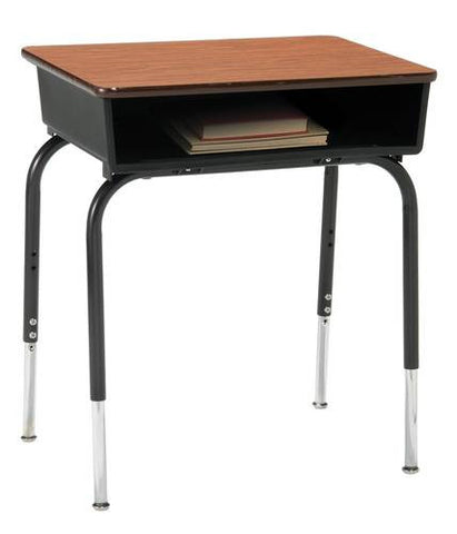 Adjustable-Height Open-Front Desk with Laminate Top and Plastic Book Box
