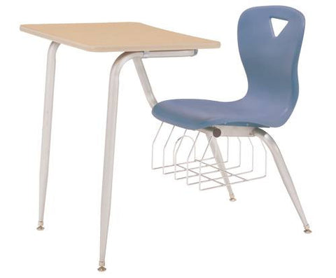 "Accolade™ Chair Desk with Bookrack and Solid Plastic Top, 18"" Seat Height"