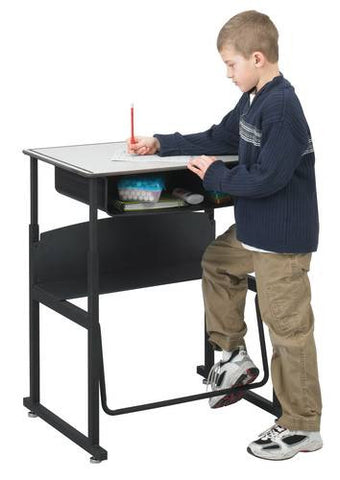 Pendulum footrest bar lets students swing their feet to channel excess energy.