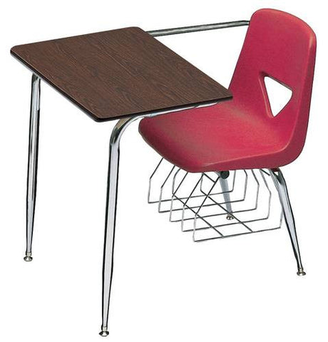 "Combo Desk with Laminate Top and Underseat Chrome Bookrack, 15-1/2"" Seat Height"