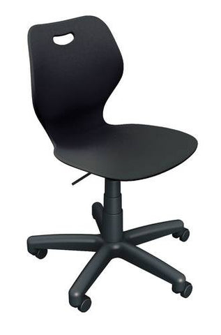 "Intellect Waveƒ?› Adjustable-Height Stool with Poly Shell, Seat Height Adjusts 20-1/4"" - 30-3/4"""