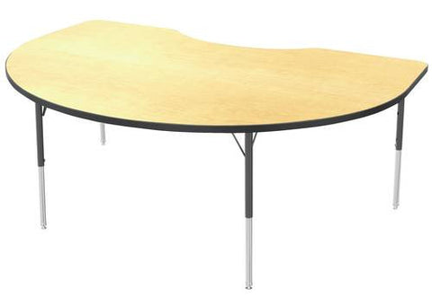 "Adjustable Height Activity Table, Low-Pressure Laminate Top, Kidney, 48"" x 72"""
