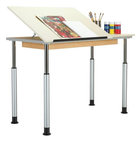 Adaptable Drawing Table, Single Station, 2-Piece Top