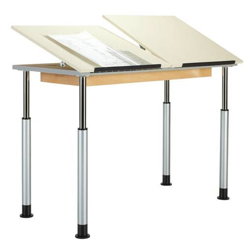 Adaptable Drawing Table, Double Station, 2 Piece Top