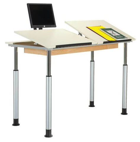 Adaptable Drawing Table, Double Station, 3-Piece Top